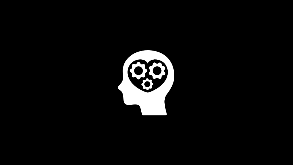 Brain shaped like a heart with cogs